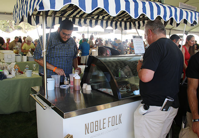 Ozzie and Christian scoop up strawberry miso ice cream at Taste of Sonoma 2015