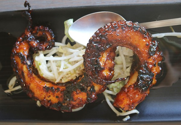 Grilled octopus at Bird and The Bottle, a new Stark Reality Restaurant in Santa Rosa, CA