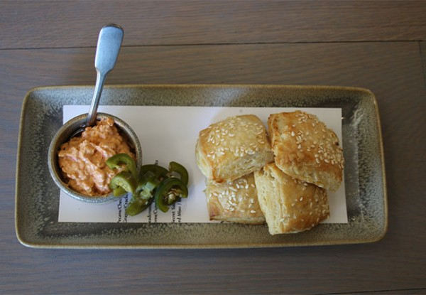 Pimento spread and biscuits at Bird and The Bottle Restaurant in Santa Rosa