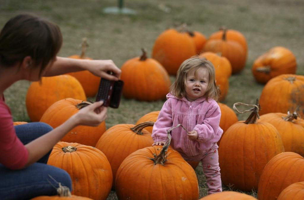 Erica Christopherson, left, of Cloverdale takes a photo of her daughter Sienna Kumec, 11 months at Grandma's Pumpkin Patch in Healdsburg, Oct. 27, 2010.