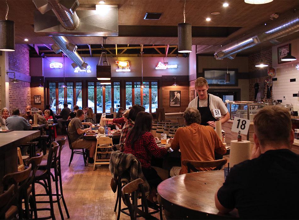 Interior of KINSmoke BBQ in Healdsburg, California. Photo: Heather Irwin