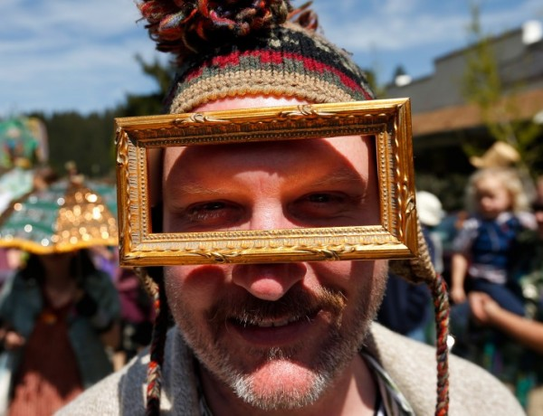 Kory Vanderpool marches in the Fool's Parade in Occidental, California, on Saturday, April 2, 2016. (Alvin Jornada