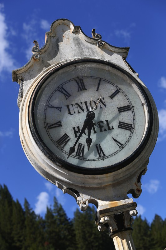 The old clock at the Union Hotel in Occidental. (Christopher Chung)
