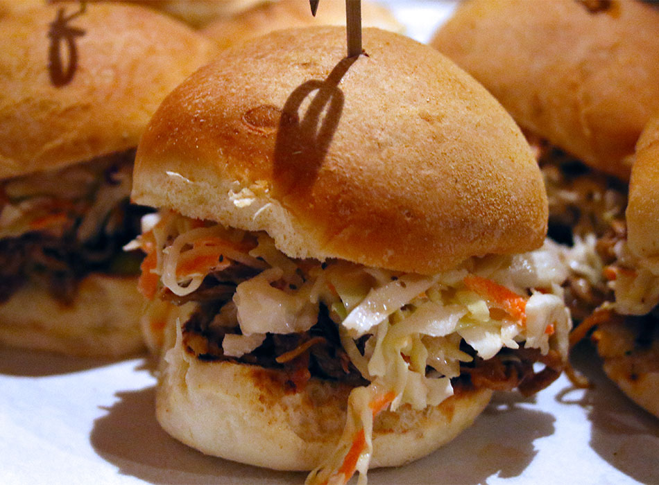 Barbecue Pulled Pork Sliders from Rossis 1906 in Sonoma, California. Heather Irwin