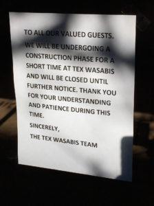 Tex Wasabi's sign on Nov. 16, 2015.