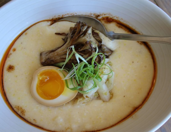 Best Sonoma County Restaurant Dishes of 2015: Grits with preserved egg, hen of the woods mushrooms, schmaltz at Bird and The Bottle in Santa Rosa