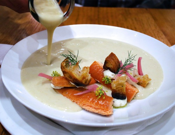 Wild fennel soup with smoked trout at SHED Cafe in Healdsburg