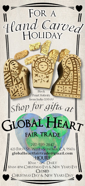 Global Heart Fair Trade, a cute little shop on the Sonoma Plaza, has a plethora of fair trade gifts, including everything from handmade scarves and hats to bags and purses to home decor.