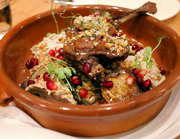 Liberty Farms duck leg with pistachio dukka, baba ganoush and pomagrates is the Best Sonoma County Restaurant Dish of 2015