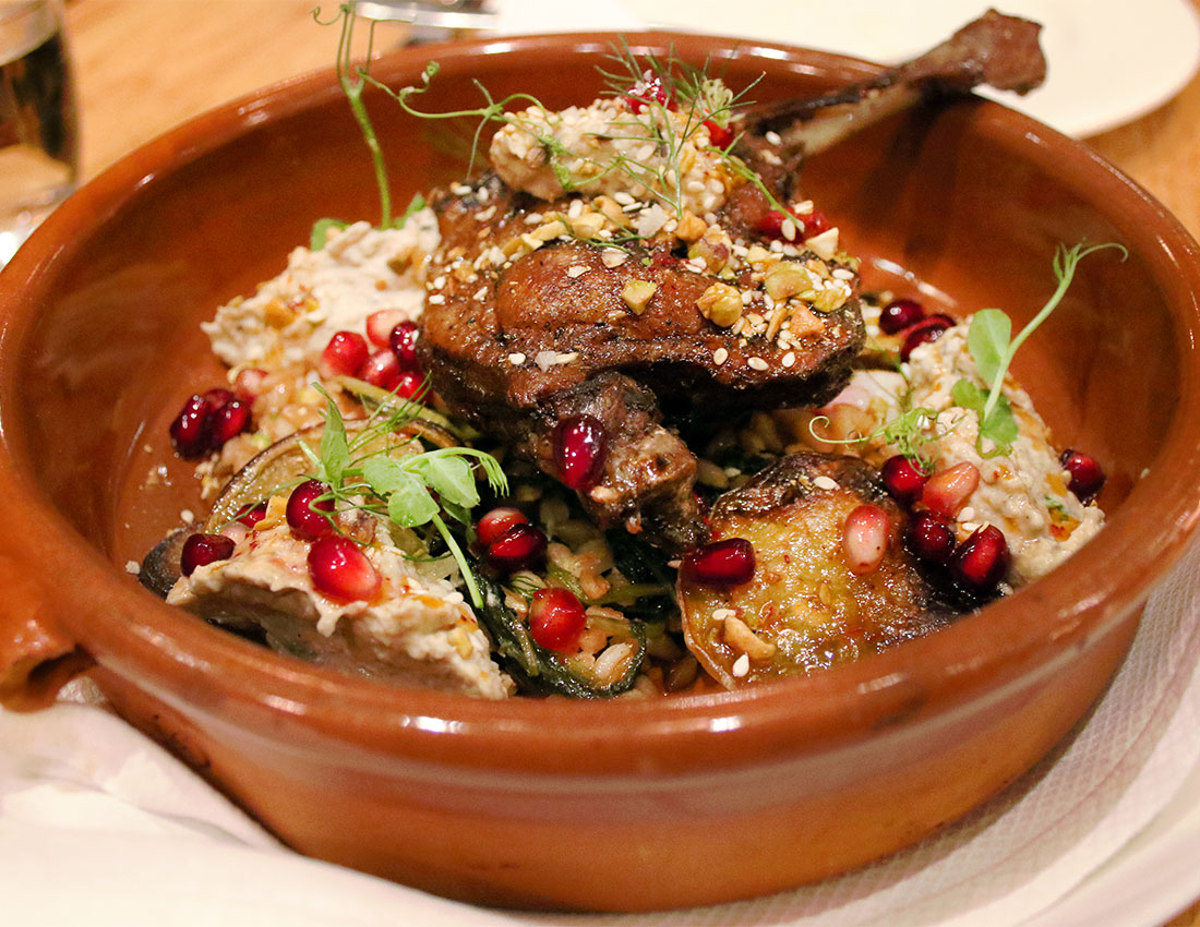 Liberty Farms Duck Leg With Pistachio Dukka Baba Ganoush And Pomagrates Is The Best Sonoma
