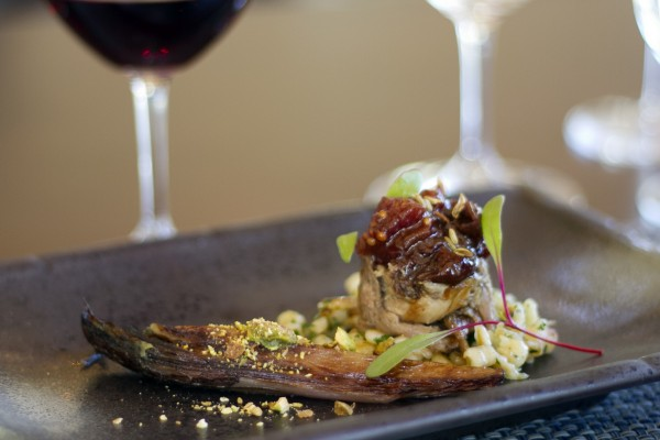 Red Wine Braised Duck with COriander Spatzle, Endive, Pistachio, Tart Cherry Apricot Mostara paired with St. Francis 2013 Pinot Noir, Russian River Valley from the June 2015 menu. Photo: Heather Irwin.