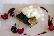 Blackberry Galette with creme fraiche granita, raspberry coulis paired with St. Francis' 2014 Sauvignon Blanc, Uboldi Vineyard, Sonoma Valley. From the June 2015 menu. Photo: Heather Irwin.