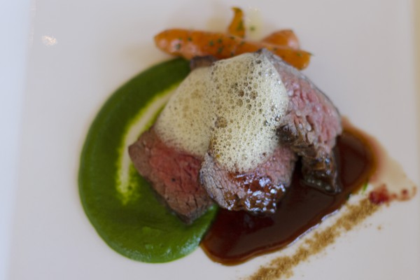 Grilled Snake River Bavette Steak with Honey Lavender Carrots, Spinich Puree, Onion Powder, Onion-Butter Foam paired with St. Francis 2012 Red Wine, Rockpile Red, Sonoma County. Photo: Heather Irwin.