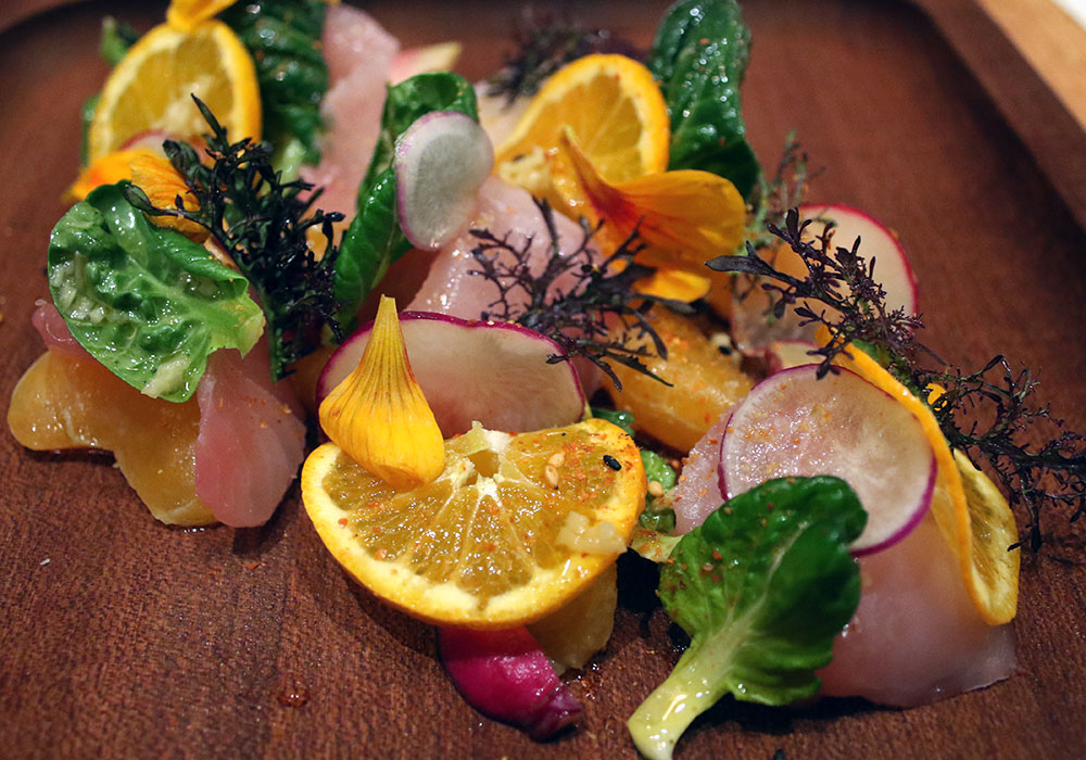 Yellowtail with citrus at SHED Cafe in Healdsburg, California. Photo: Heather Irwin.