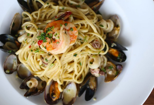Seafood Linguine at Sonoma Grille in Sonoma, California. Photo: Heather Irwin.