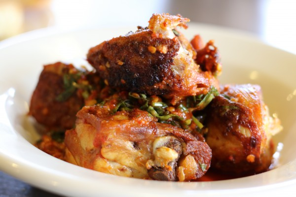 (k)chetti's spicy chicken with salsa verde and Calabrian chili paste at Franchetti's Kitchen in Santa Rosa, California on 1/20/16. (Heather Irwin, Press Democrat).