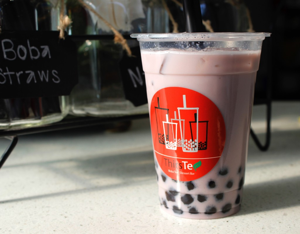 Taro Milk Tea from ThirsTea. (Photo by Jenna Fischer)