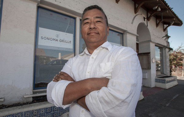 Nima Sherpa in front of his Sonoma Grille just before opening in 2015. (Photo Robbi Pengelly, Sonoma Index-Tribune)