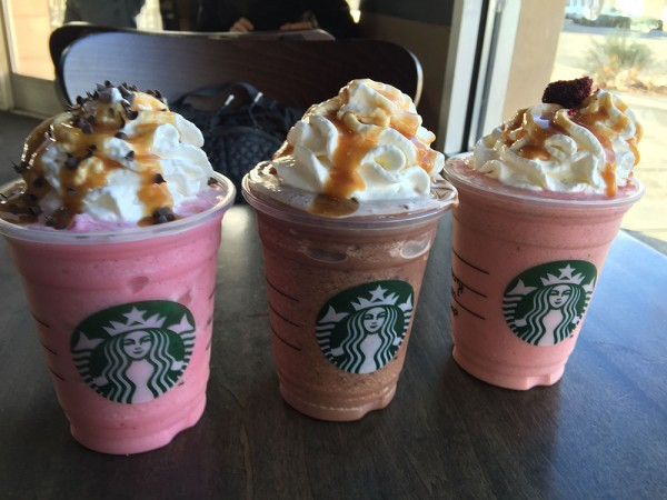 "The ""Valentine"" frappuccino trio at Starbucks. The baristas did a really good job with our horrid directions."