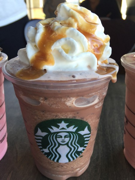 A java chip Valentine frappuccino at Starbucks. They didn't have raspberry whipped creme, and they put caramel drizzle on top. Not sure if there was any raspberry.
