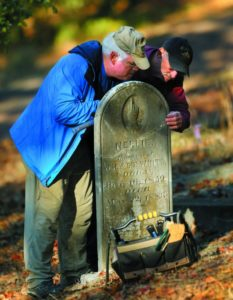 A cadre of volunteers uses elbow grease and detective work to locate old tombstones.