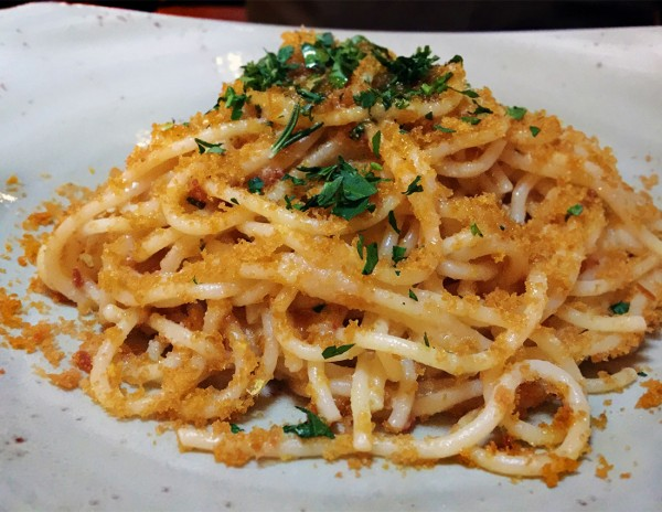 Spaghetti ala Bottarga at Ca'Momi Osteria in Napa. Heather Irwin/PD