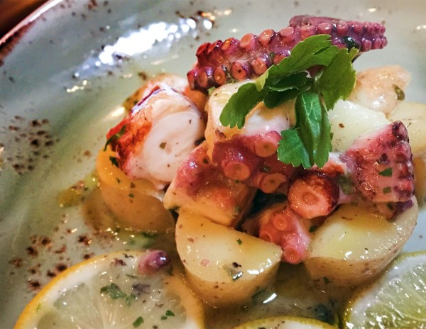 Octopus with lemons and potatoes at Ca'Momi Osteria in Napa, California. Heather Irwin/PD