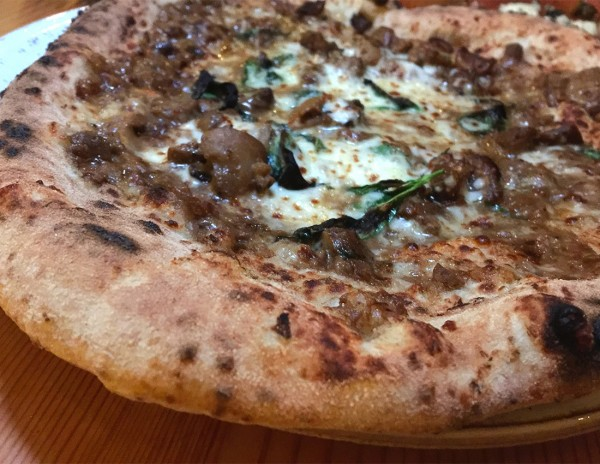 Creamy porcini pizza at Ca'Momi Osteria in Napa. Heather Irwin/PD