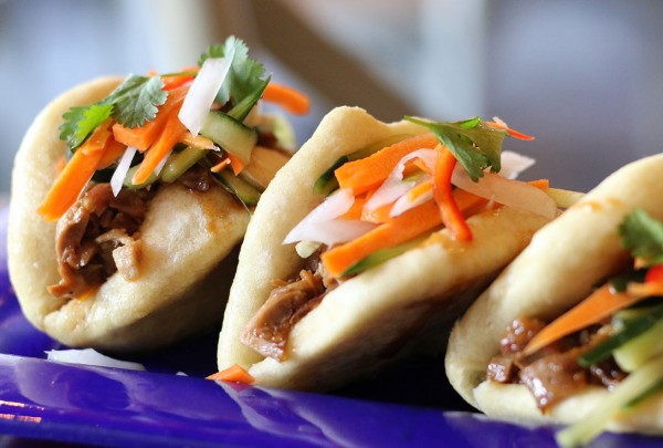 Peking duck bao at Persimmon Asian fusion restaurant in Healdsburg, California. (Heather Irwin)