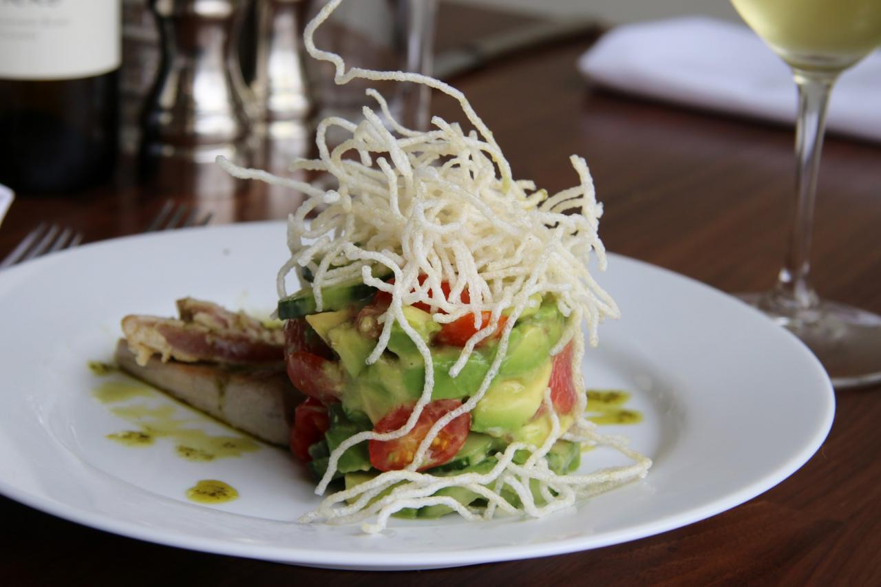 Seared tuna with avocado salad at Sonoma Grille. (Heather Irwin/ The Press Democrat)