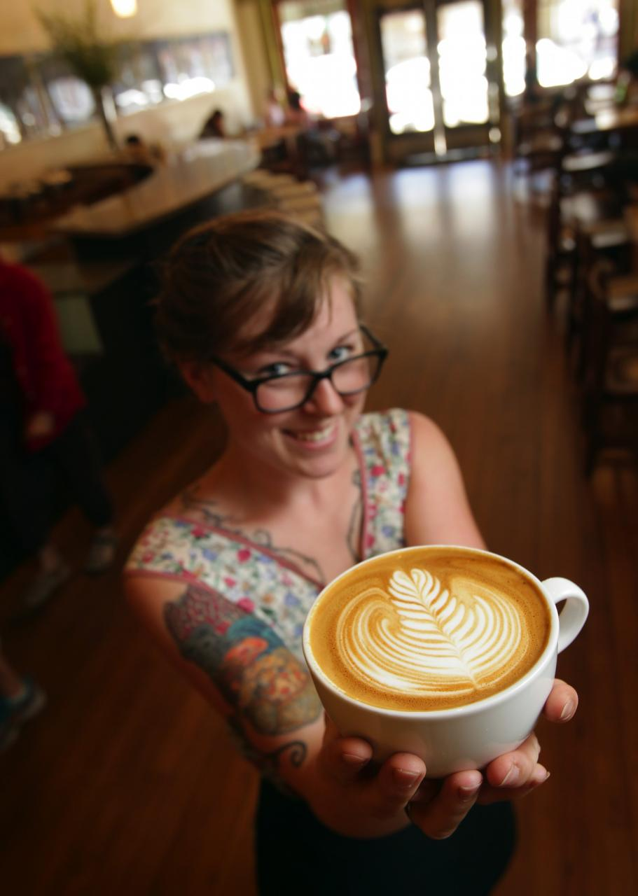 Flying Goat Coffee in Santa Rosa has delicious coffee and long lines because so much care goes into each cup: each latte gets its own pitcher of steamed milk. This cup isn't for the grab-and-go types, it's for coffee lovers looking for a relaxed morning. (John Burgess / The Press Democrat)