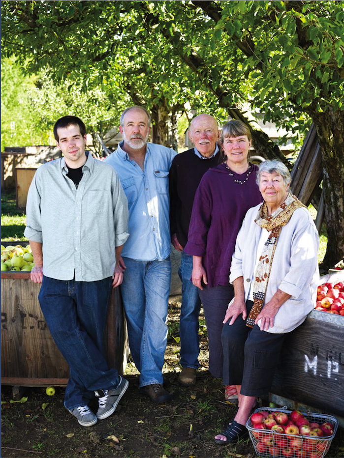 In a family photo taken at The Apple Farm in Philo, Perry Hoffman, left, stands with his uncle Johnny Schmitt, grandfather Don Schmitt, aunt Karen Bates and grandmother Sally Schmitt.