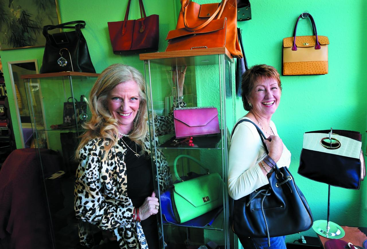 BohLux specializes in purses and other luxury leather goods custom made to the client's wishes. Artisans Louise Comora, left, and Gail Fivis turned their passion into a new career when they opened their shop in Santa Rosa. Photography by John Burgess.