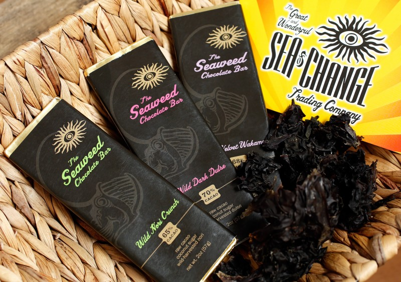 Sea of Change Trading Company's selection of new seaweed chocolate bars at their office in Windsor, California on Wednesday, October 21, 2015. (Alvin Jornada / The Press Democrat)