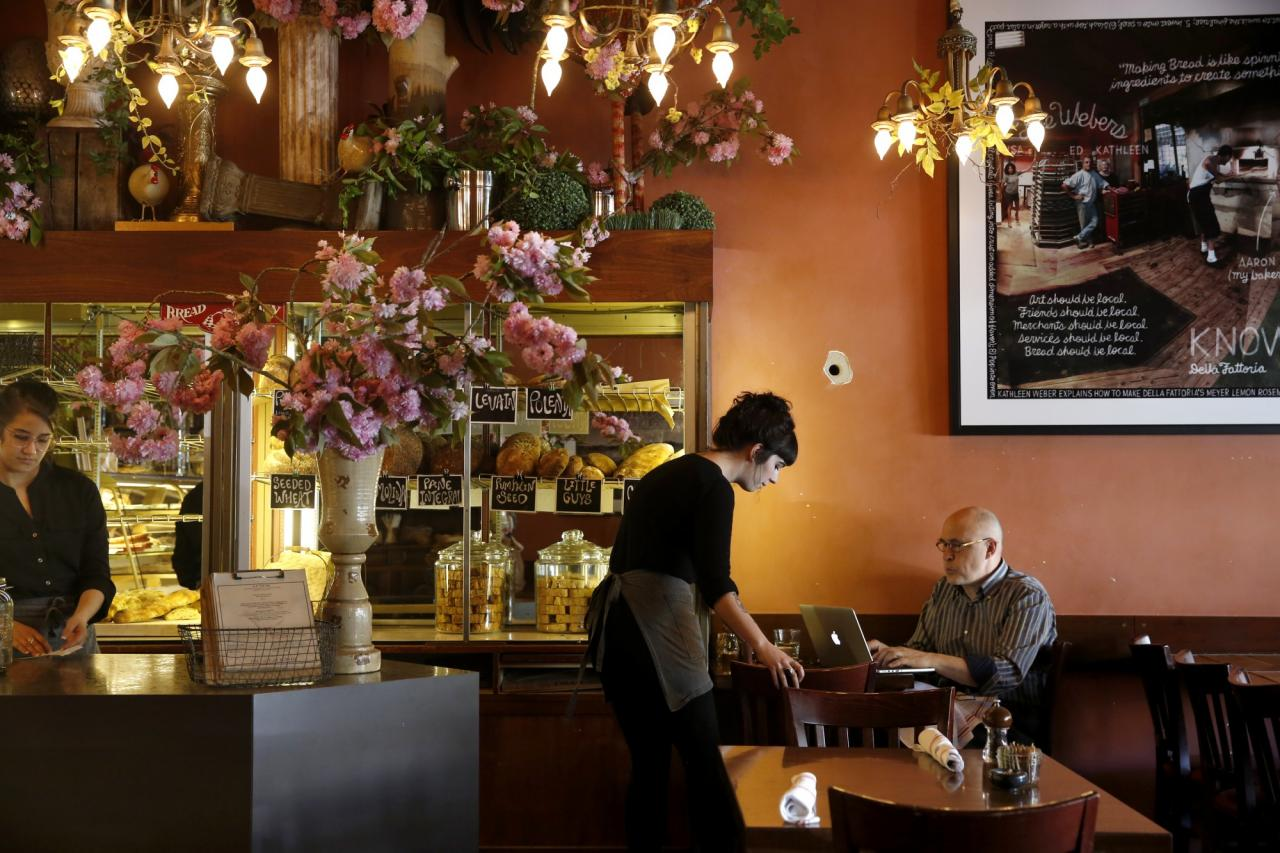 Karl Danskin dines at Della Fattoria in Petaluma. (BETH SCHLANKER/ The Press Democrat)
