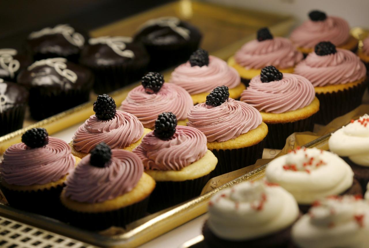 A variety of cupcakes in the case at Della Fattoria in Petaluma. (BETH SCHLANKER/ The Press Democrat)