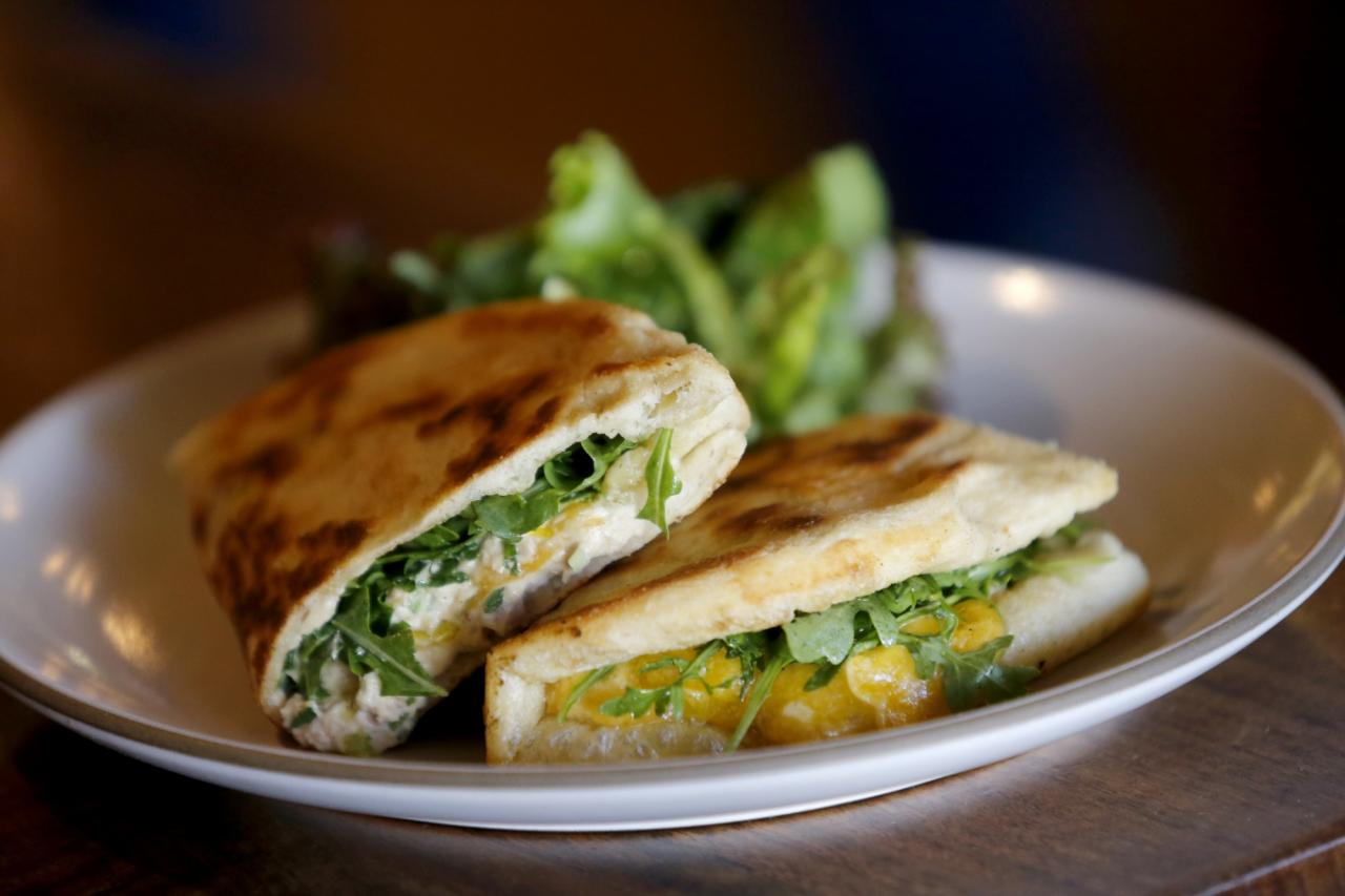 Tuna Melt Piadina on homemade pizza dough at Della Fattoria in Petaluma. (BETH SCHLANKER/ The Press Democrat)