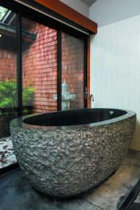 Interiors at the Gaige House have a distinctive Asian feel, including the suites' baths with their granite soaking tubs.