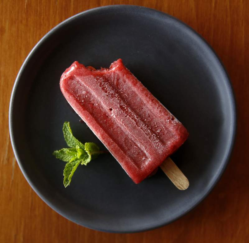 A housemade strawberry popsicle at The Kenwood Restaurant. (Beth Schlanker / The Press Democrat)