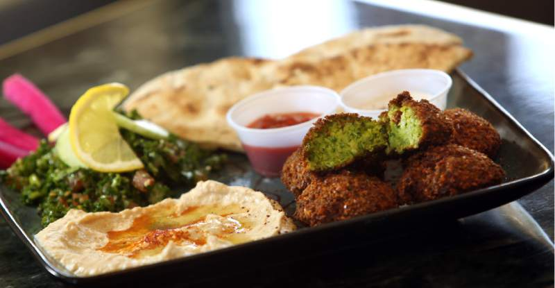 Falafel Plate served at King Falafel in Sebastopol. (Crista Jeremiason / The Press Democrat)