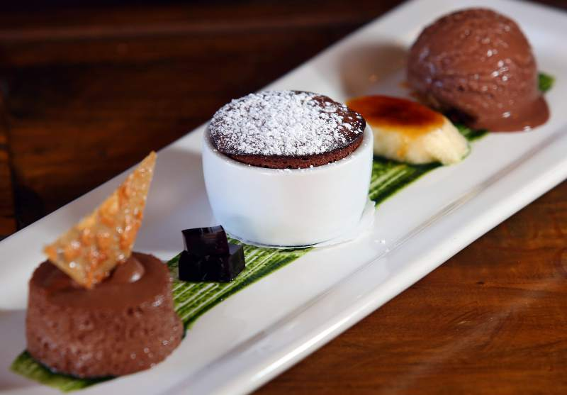 Chocolate Fetish served at LaSalette Restaurant in Sonoma, Thursday, Sept. 4, 2014. (Crista Jeremiason / The Press Democrat)