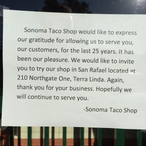 Sonoma Taco Shop has closed after 25 years