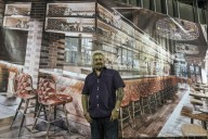 A photo of Guy plugging his new Louisville Smokehouse concept restaurant (By Michael Clevenger, The Courier-Journal)