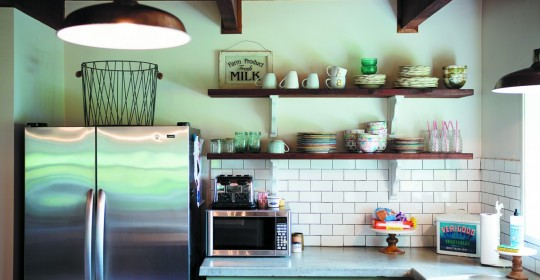 For the kitchen backsplash in their Valley Ford home, Missy and Joe Adiego used subway tile left over from building the creamery room at their sheep's milk dairy.(Photo by Chris Hardy)