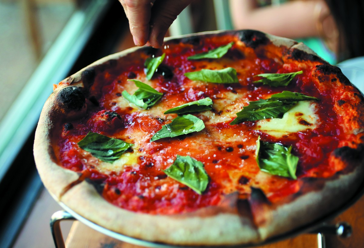 Margherita pizza fresh from the wood-fire oven at Glen Ellen Star in Glen Ellen. (photo by Crista Jeremiason)