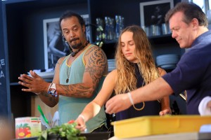 Musicians Michael Franti and Zella Day make pizza with chef Roberto on the Culinary Stage at the BottleRock Napa festival. (The Press Democrat)