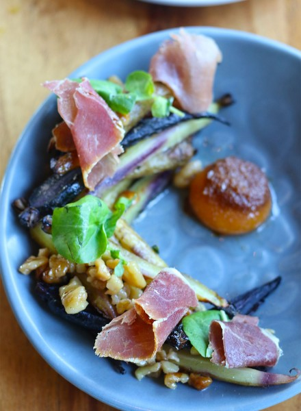 Roasted County Line carrots with prosciutto, brown butter egg yolk, toasted walnut vinaigrette at Spoonbar restaurant in Healdsburg, California. (Photography by Heather Irwin)