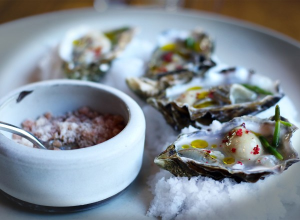 Miyagi oysters with granita mignonette at Spoonbar restaurant in Healdsburg on 5/15/15 . Copyright Heather Irwin, Biteclubeats.com.