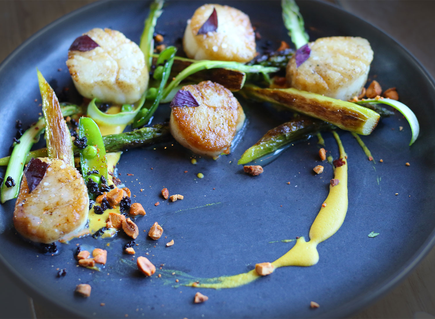 Scallops at Spoonbar restaurant in Healdsburg on 5/15/15 . Copyright Heather Irwin, Biteclubeats.com.