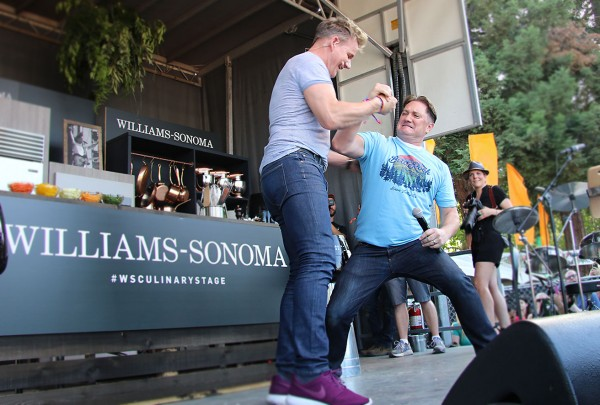 Foodie Chap Liam Mayclem with Chef Gordon Ramsay at the WIlliams-Sonoma Culinary Stage at BottleRock 2016. Heather IRwin.